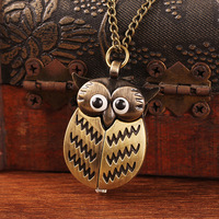 50pcs/lot 2014 Fashion Design Vintage Jewelry Antique Delicated Alloy Bird Openable Owl Pocket Watch WA025