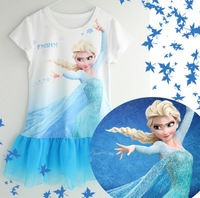Summer New Arrival Frozen Girl Princess Dress  Net Yarn Baby Short Sleeve Frozen Cartoon Dresses 90-140 2-7Year Kids Clothing