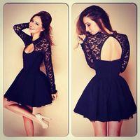 Hot Sell 2014 Summer New Fashion Black open-back Cute Halter Dress Women Evening Black Sexy Women Ball Gown Dress