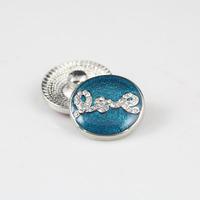 Min order $10 fashion wholesale Silver Blue White Rhinestone Love Snap socket button Charm Snap Style leather Bracelet For Women