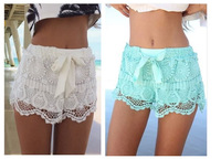 Free Shipping new women's mint lace crochet embroidery floral sexy hollow out shorts beach shorts elastic waist drawstring S M L