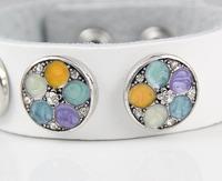 Min order $10 fashion wholesale Women Silver Colorful Rhinestone flower Snap socket button Charm Snap Style leather Bracelet
