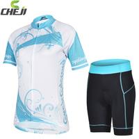 Cool ! 2015 cheji Women's Short Sleeve Cycling Jersey and Shorts Women Cycling Clothing silica gel Set Size:S-XXXL Free Shipping
