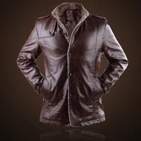 2014New Winter Man Formal Faux Leather Jacket Solid Long PU Business Jaqueta de couro Masculina Men Plus Velvet Coats M XXXL