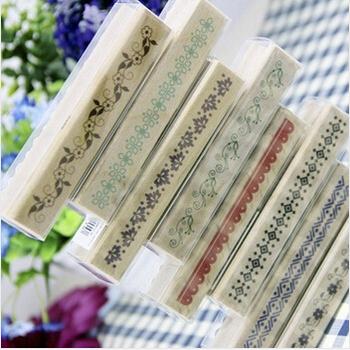 Diy длинные классический урожай ретро цветка шнурка украшения дерево штамп для скрапбукинга дневник дизайнера