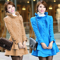 New 2014 Autumn And Winter Women's Woolen Cloth Slim Agaric Edge Long Single-breasted Coat Fashion Blends