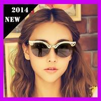 2014 New Vintage Fashion Summer Sunglasses Metal Wrap Cat Eye Coating Reflective Womens Mens Brand Designer sunglasses