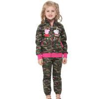 Nova Girl Wear Embroidered Lovely Peppa Pig Fleece Zipper Girl Hoody Jacket Coat Winter Spring For Girls Free Shipping