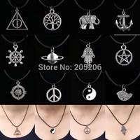 12 designs Handmade Tibetan Silver Choker Pendant Necklace Charm Black Leather Cord Handmade Necklaces Fashion choker necklace
