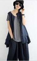 2014 New Arrive Korean Style Solid Round Neck Sleeveless Linen Shirts with Pockets for Ladies Free Shipping A738-A231