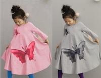 Girl Bohemia Wind Beach Long Dress Big Butterfly Printing Children Leisure Homewear Sleep Dresses Fall Kids Beach Dress GX763