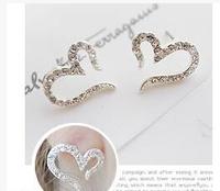 Free Shipping Simple love OL wild temperament models peach heart rhinestone love earrings 6pcs/lot