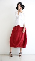2014 New Arrive Korean Style Solid A-line Linen Skirts with for Ladies Free Shipping A738-A217#