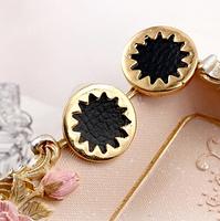 Free Shipping Fashion Black leather Gold metal Sun Flower Earrings Lady Stud earrings 6pcs/lot