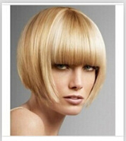 Super Soft Short Bob Blonde Synthetic Hair wig free shipping