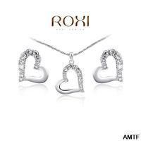 2014 Classic Women Jewelry Set Jewelry Fashion Crytal Flower Snow Zirconset Girlfriend 100% Hand Made Earrings+necklace