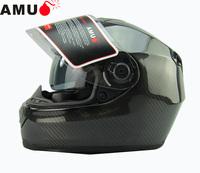 Free shipping/Motorcycle helmet/carbon material full face helmet with inner visor /double glasses full face helmet