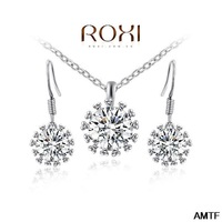 2014 Real Top Fasion Women Jewelry Gift Fashion Crytal Flower Snow Zirconset Girlfriend 100% Hand Made Jewelry Earrings+necklace