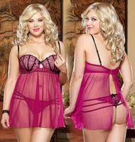 Free Shipping M XL Plus size Lingerie Spaghetti Strap Transparent Erotic Padded Babydoll Nighty Sleepwear Sexy Lingerie 3175