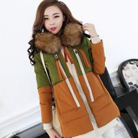 2014 New Winter Women Down Jacket Color Matching Military Thickening Raccoon Fur Pregnant Women Big Yards Long Coat HRL004