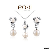 2014 Classic Women Real Hot Sale Jewelry Sets Fashion Crytal Flower Snow Zirconset Girlfriend 100% Hand Made Earrings+necklace