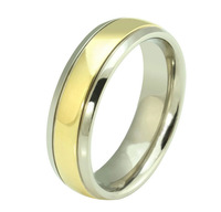 High Quality 18K Gold Plated Titanium Steel Men Ring Fashion Jewelry Men's Wedding Band Ring Size 6, 7, 8, 9, 10, 11, 12