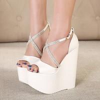Europe Sexy Fashion Crystal Buckle Cross Strap Rhinestone Platform Wedge Peep Toe High Heel Sandals Women Casual 16.5cm S005