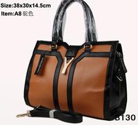 2014 women commuter belt buckle big bag wild colorful shoulder bag fashion shopping handbag