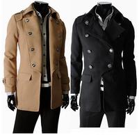 High Quality 2014 Men'S Dust Coat Europe Jacket Mens Overcoat Winter Men'S Trench Coat Long Trench Coats For Men Plus Size XXL