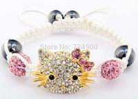 new jewelry sets Free Shipping  micro pave cz Disco Beads Crystal kids/children one direction Shamballa Bracelet