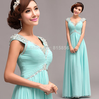 2014 Floor-Length Blue evening dress long design sexy deep V-neck evening dress 328#