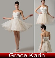 Free Shipping!Grace Karin A-line Strapless Organza Ball Evening Gowns Prom Wedding Party Short Prom Formal Dresses AL16 CL6134