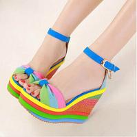 Fashion elegant women's shoes Rainbow Sexy lady's wedge high heel sandals shoes casual platform high heels female sandals