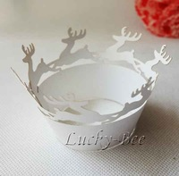 48 pcs Christmas cupcake wrapper paper dessert cups cake mould cutter cake case with white paper