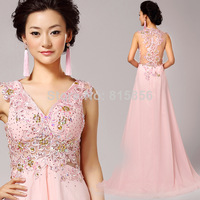 2014 new arrival Long evening dress Perspectivity pink diamond disk flowers V-neck evening dress 7131#