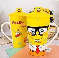 Wholesale Spongebob cartoon mug ceramic cup mug with lid large capacity and creative children's cups