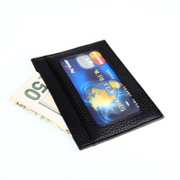 Brand Genuine Leather Slim Card Holder With ID Card Window Fashion Unisex Small Bank Card Holders Case Billfold MT-H-0010