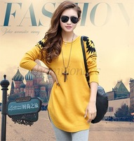 Women Sweet Candy Color Loose Pullover Knitted Sweater Sweaters Long-sleeve Tops Sweater Free Shipping B16 SV006312