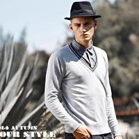 Sweaters Men's Clothies Pullovers 70% viscose 30% nylon Lapel Personality Free shipping New 2014 Autumn Black Gray