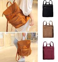 2014 Japan and Korean Style Women Faux Suede Backpack Vintage Leather Backpacks Preppy Bag Unisex Schoolbag Retro Mochila