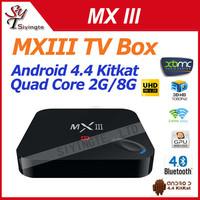 Original MXIII Android 4.4 Amlogic S802 Quad-Core TV BOX 2GB/8GB Google MX3 Support OTA 2.4/5GHz Dual Wifi Free Shipping