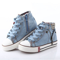 Free Shipping,Hot selling 2014 new arrival Size 25-37 children denim jeans zipper sneakers boys and girls casual shoes