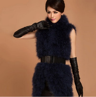 High Quality Promotion Cheap 100% Ostrich Fur Vest Fashion Long Design Waistcoat Real Ostrich Fur Vest for Women Colete Feminino