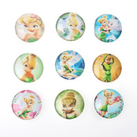 50 pcs Mix Halloween Flatback Round 25MM Frozen Tinker bell Princess Character Photo Printed Glass Cabochon Fit Necklace Pendant