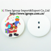 800pcs  Christmas Santa Claus painting wooden buttons for sewing boots coat sweater clothes findings MCB-537