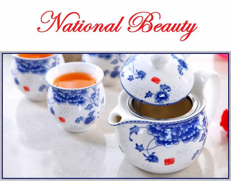 7pcs double layers porcelain Chinese Dehua teaset, 1 Portable rattan handle teapot + 6 cups tea set, heat resistant tea sets(China (Mainland))