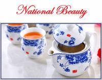 7pcs double layers porcelain Chinese Dehua teaset, 1 Portable rattan handle teapot + 6 cups tea set, heat resistant tea sets