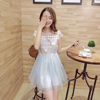 Free shipping! 2014 summer gentlewomen fashion patchwork organza lace one-piece dress! 431627