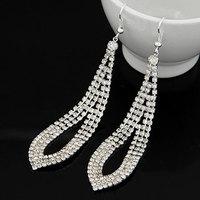 Europea Fashion Silver Crystal Long Women Wedding Earrings