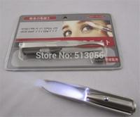 Stainless Steel Make Up Tool LED Light Eyelash Eyebrow Hair Removal Tweezer